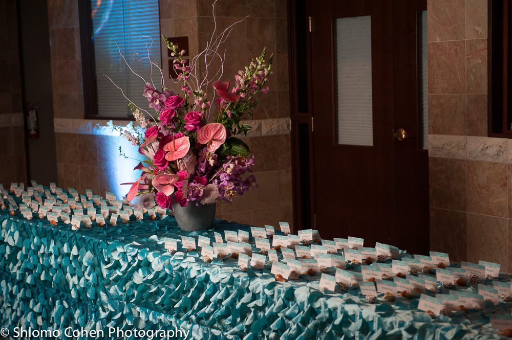 Rachaels Fantasea   Place Card Table   Bat Mitzvah under the sea theme decor by Innovative Party Planners at Oheb Shalom