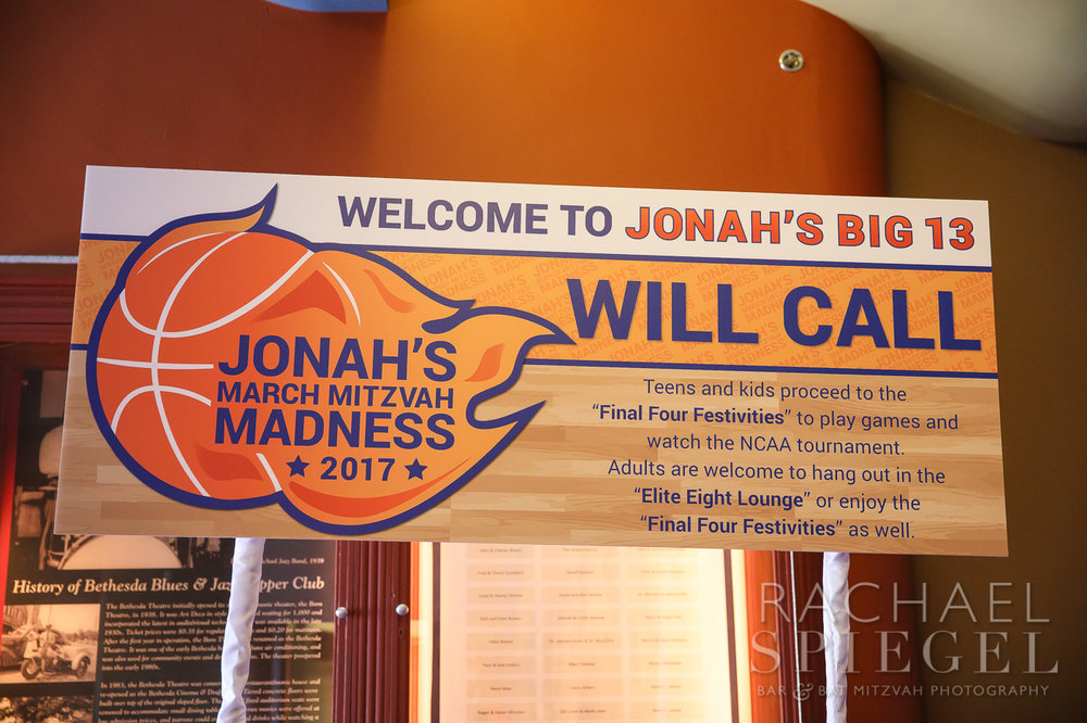 Jonahs March Madness | Place Cards Sign | Bar Mitzvah basketball theme, march madness theme, final four theme, decor by Innovative Party Planners
