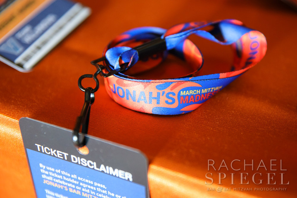Jonahs March Madness | Place Cards Tickets | Bar Mitzvah basketball theme, march madness theme, final four theme, decor by Innovative Party Planners