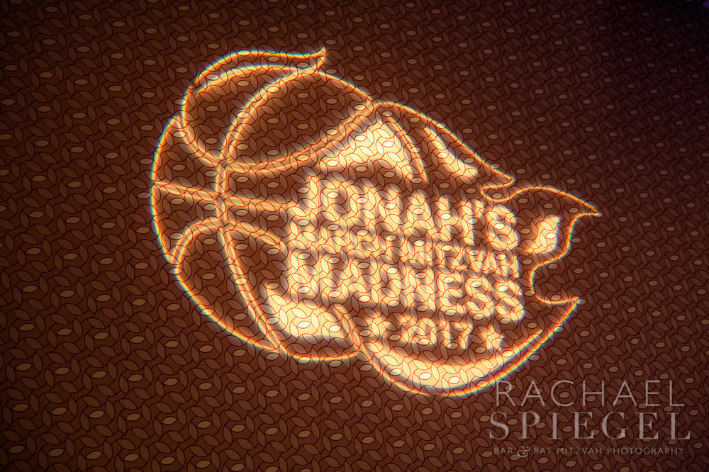 Jonahs March Madness | Logo Projection| Bar Mitzvah basketball theme, march madness theme, final four theme, decor by Innovative Party Planners