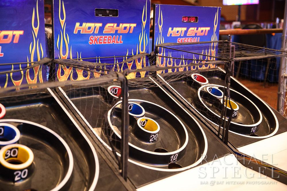 Jonahs March Madness | Sports Arcade Games Skee-ball | Bar Mitzvah basketball theme, march madness theme, final four theme, decor by Innovative Party Planners
