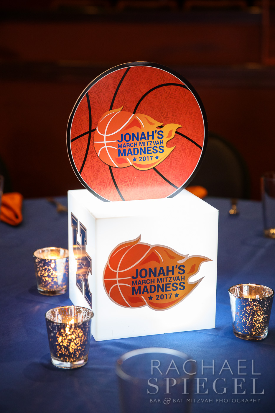 Jonahs March Madness | Centerpieces | Bar Mitzvah basketball theme, march madness theme, final four theme, decor by Innovative Party Planners