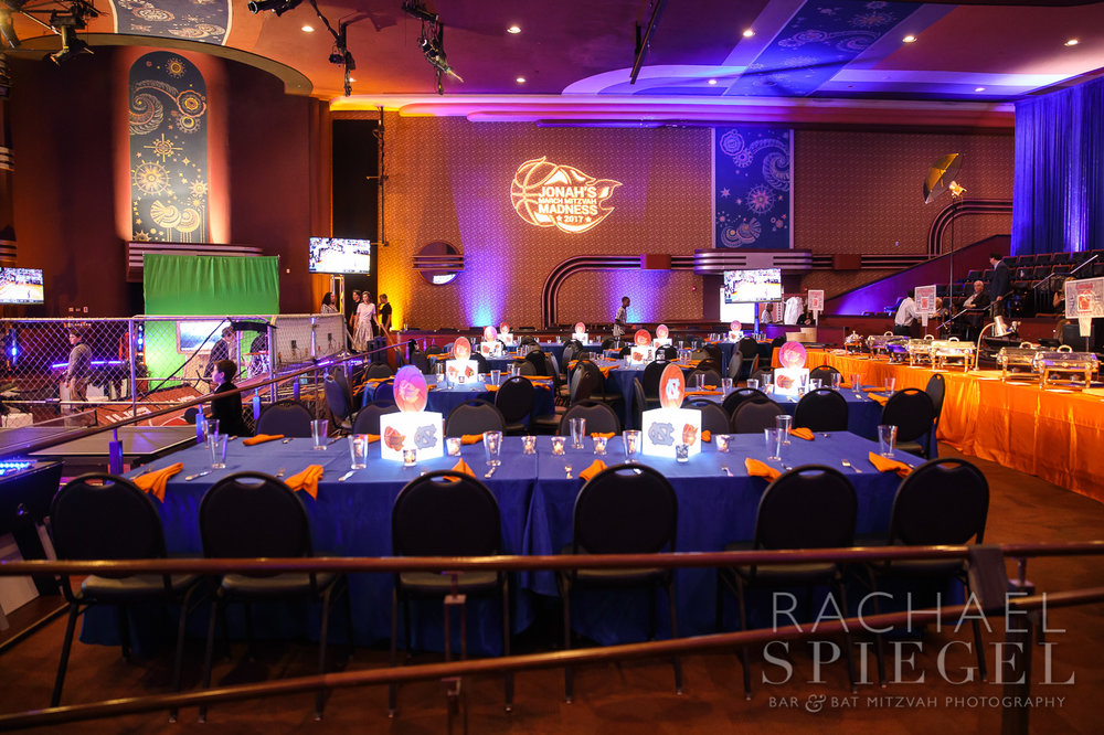 Jonahs March Madness | Teen Tables | Bar Mitzvah basketball theme, march madness theme, final four theme, decor by Innovative Party Planners