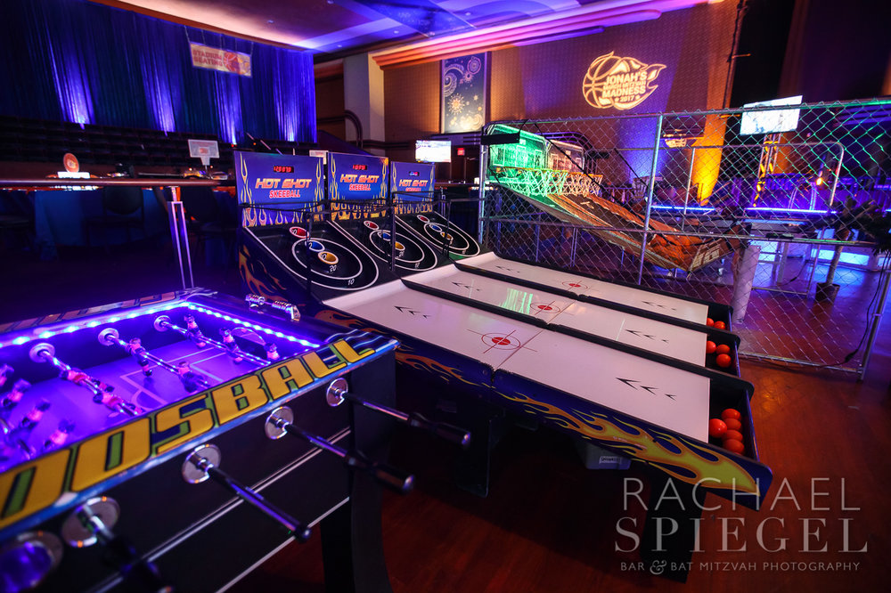 Jonahs March Madness | Sports Arcade Games Foosball | Bar Mitzvah basketball theme, march madness theme, final four theme, decor by Innovative Party Planners