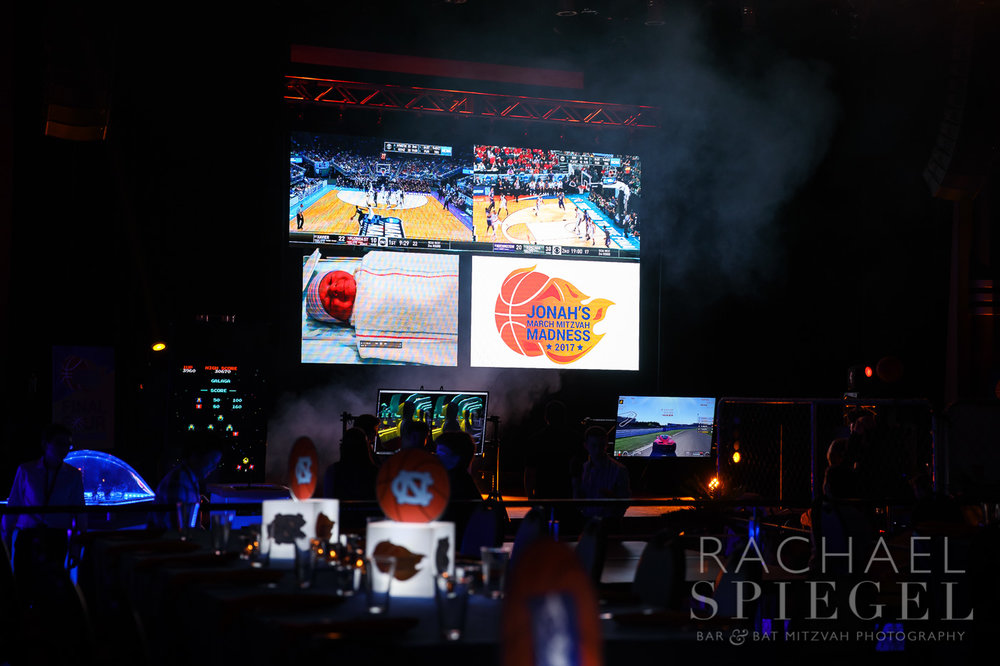 Jonahs March Madness | Video Wall | Bar Mitzvah basketball theme, march madness theme, final four theme, decor by Innovative Party Planners