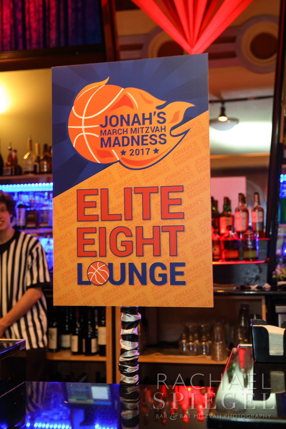 Jonahs March Madness | Lounge Sign| Bar Mitzvah basketball theme, march madness theme, final four theme, decor by Innovative Party Planners