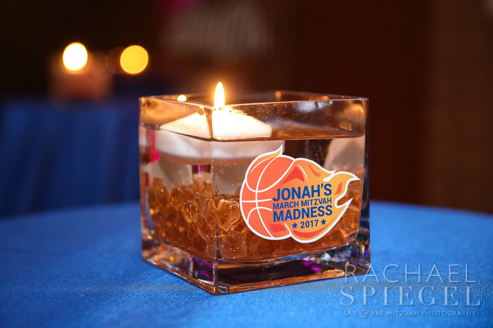 Jonahs March Madness | Cocktail Table Centerpiece| Bar Mitzvah basketball theme, march madness theme, final four theme, decor by Innovative Party Planners