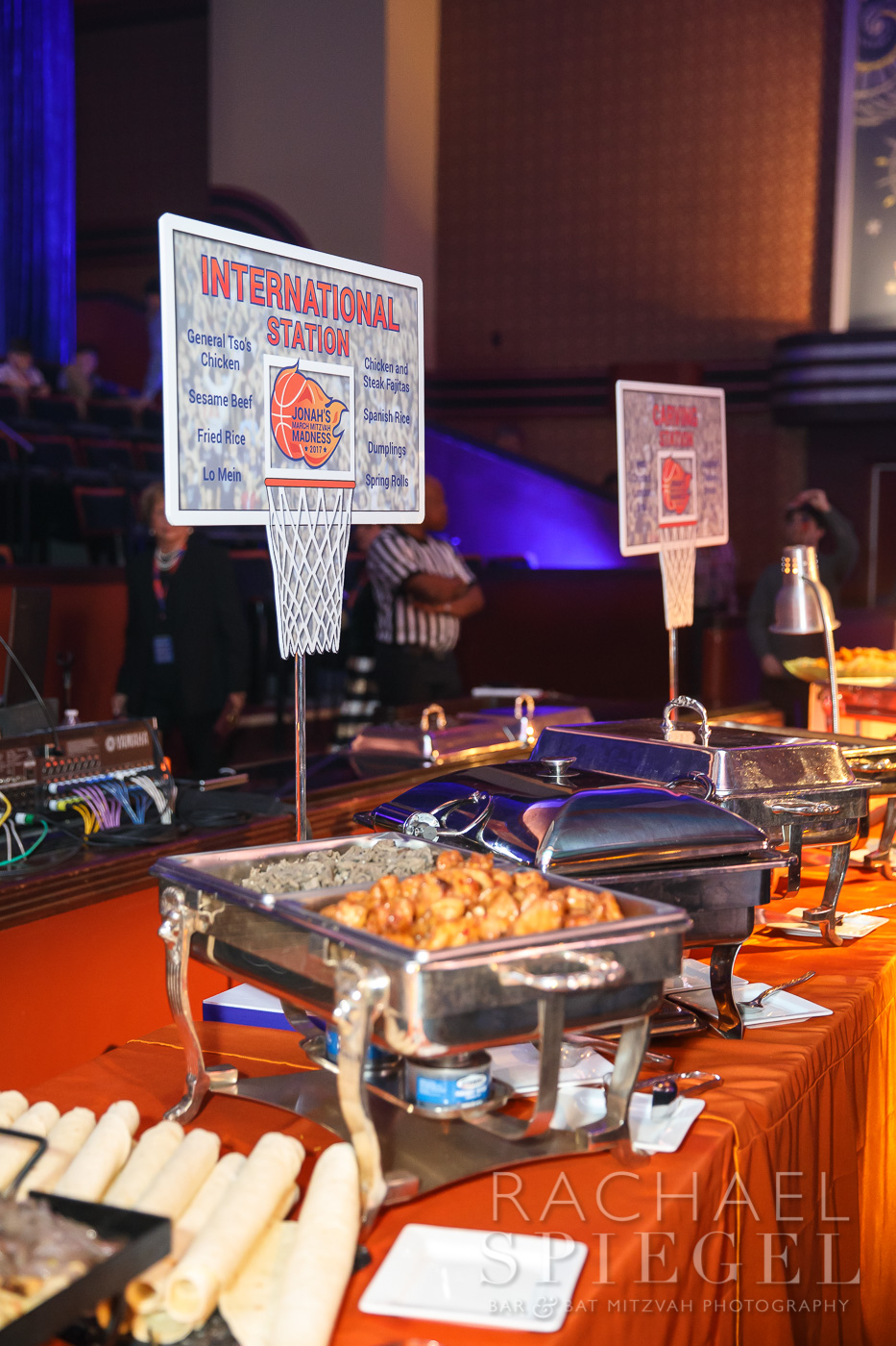 Jonahs March Madness | Buffet Signs | Bar Mitzvah basketball theme, march madness theme, final four theme, decor by Innovative Party Planners