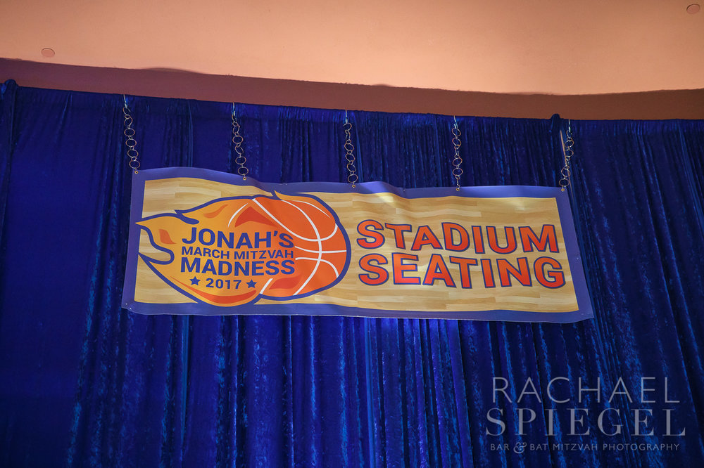 Jonahs March Madness | Seating Sign | Bar Mitzvah basketball theme, march madness theme, final four theme, decor by Innovative Party Planners