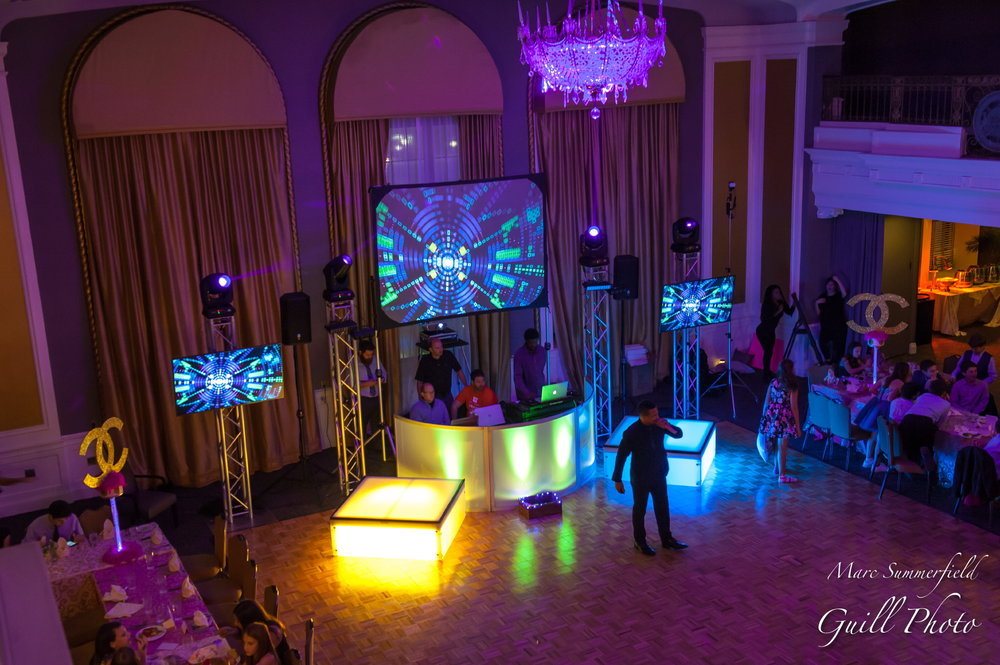 Club Chloe| DJ Booth | Bat Mitzvah club theme decor by Innovative Party Planners at Lord Baltimore Hotel