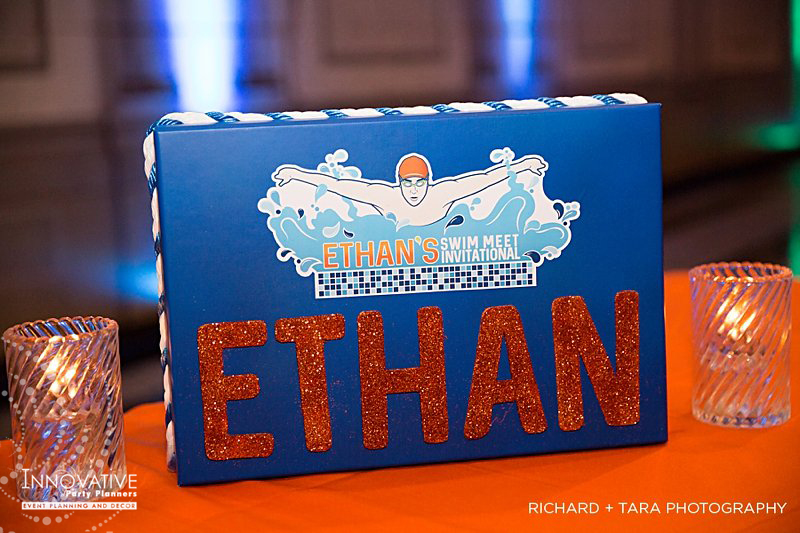 Ethans Swim Meet | Name Sign | Bar Mitzvah swim theme decor by Innovative Party Planners at Martins Valley Mansion