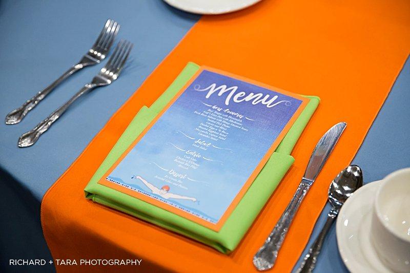 Ethans Swim Meet | Menu | Bar Mitzvah swim theme decor by Innovative Party Planners at Martins Valley Mansion