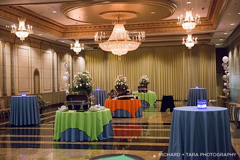 Ethans Swim Meet | Cocktail Hour | Bar Mitzvah swim theme decor by Innovative Party Planners at Martins Valley Mansion