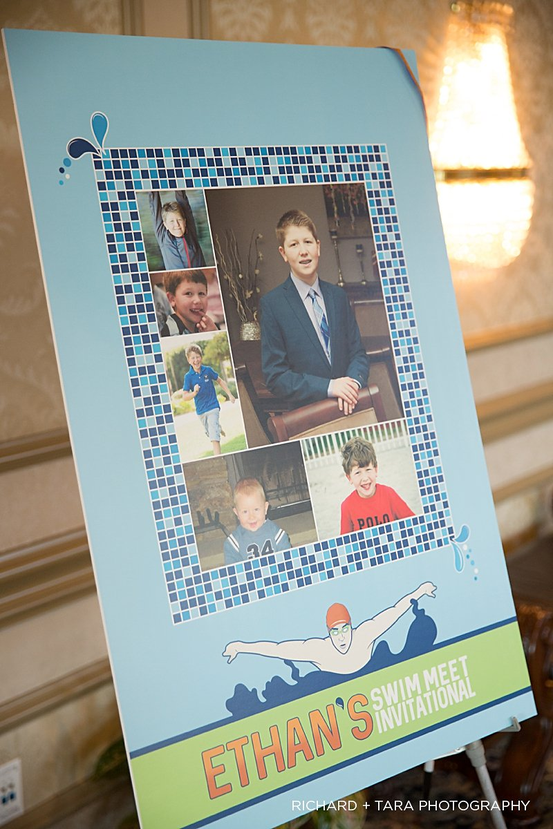 Ethans Swim Meet | Sign In Board| Bar Mitzvah swim theme decor by Innovative Party Planners at Martins Valley Mansion