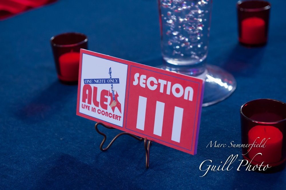 Alex Live in Concert   Concert Seating Table Names   Bar Mitzvah concert theme, music theme, singing theme, guitar theme, keyboard theme, decor by Innovative Party Planners at Oheb Shalom