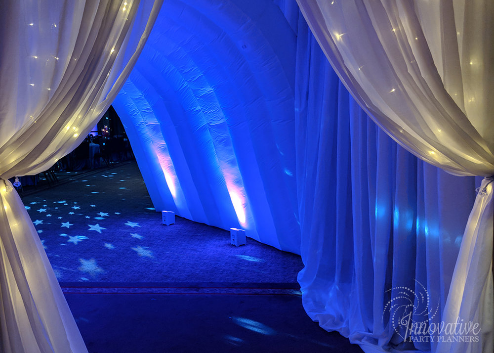 Abbys Starry Night   Entry Tunnel   Bat Mitzvah dream theme, starry night theme, ethereal theme by Innovative Party Planners at Oheb Shalom