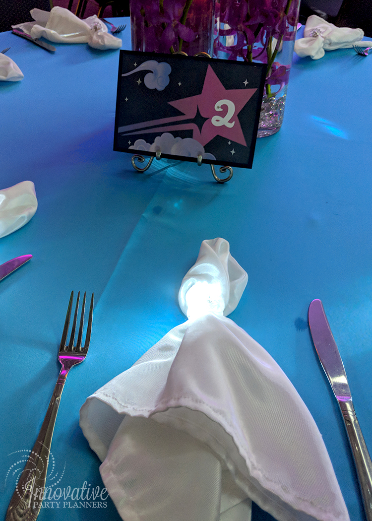 Abbys Starry Night   Glowing Napkin Ring Bling  Bat Mitzvah 'Make a Wish', dream theme, starry night theme, ethereal theme by Innovative Party Planners at Oheb Shalom
