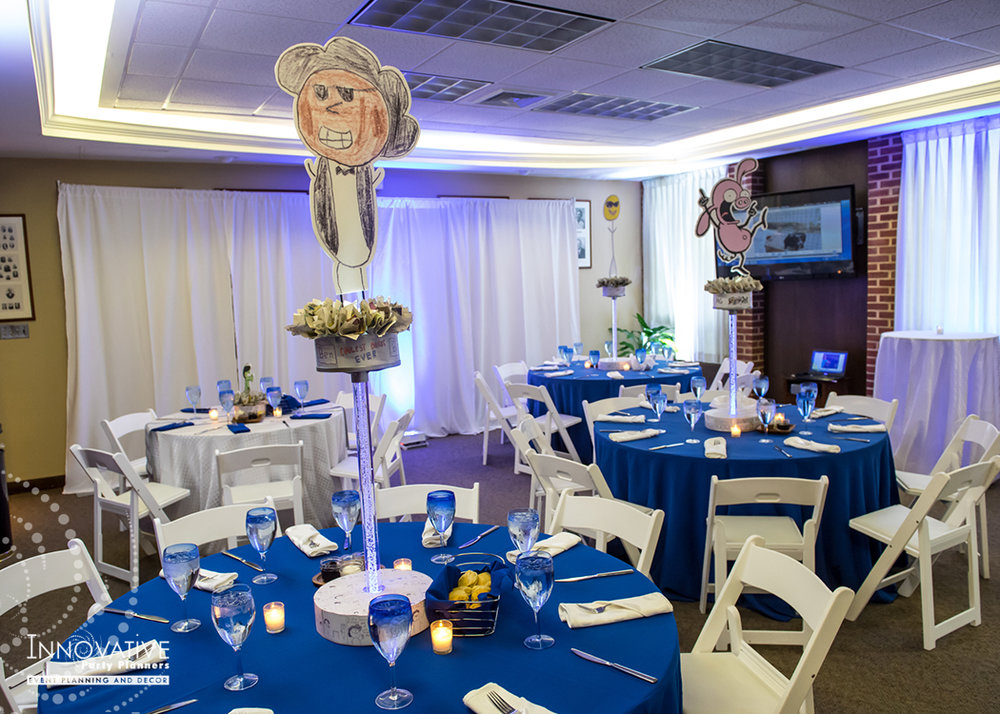 Maxs Cartoons | Adult Tables | Bar Mitzvah cartoon theme decor by Innovative Party Planners at Baltimore Hebrew