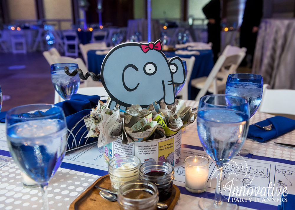 Maxs Cartoons | Centerpieces| Bar Mitzvah cartoon theme decor by Innovative Party Planners at Baltimore Hebrew