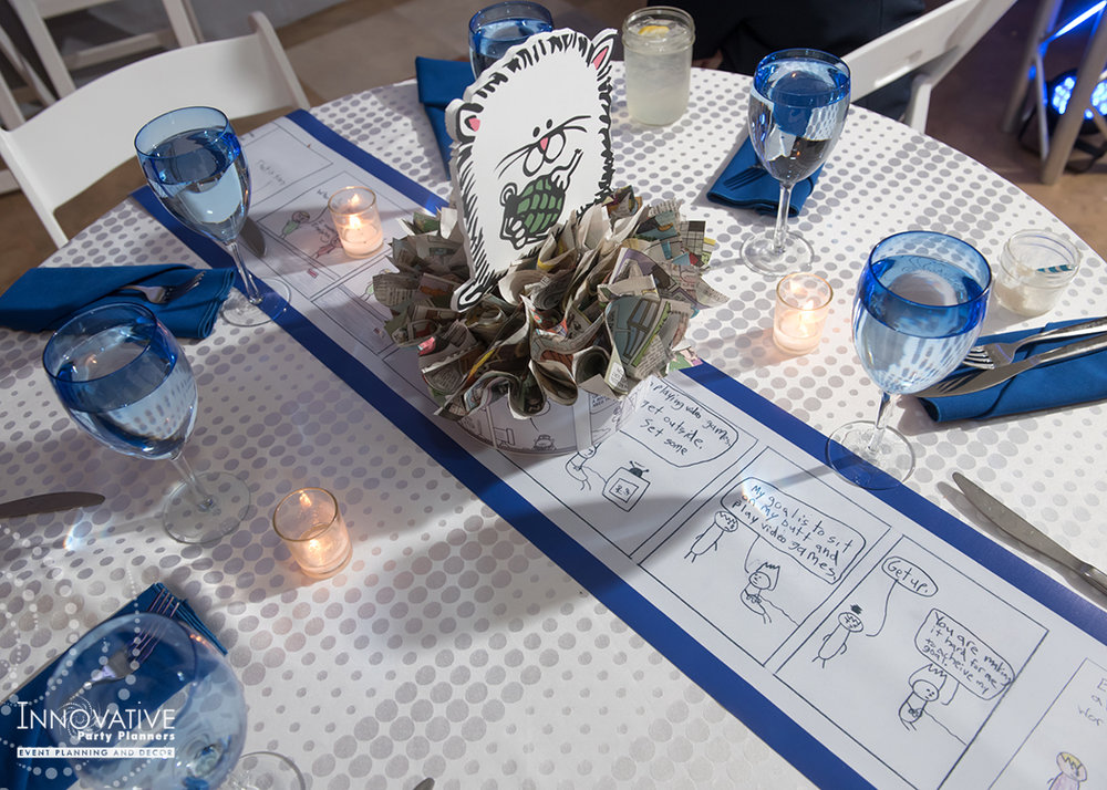 Maxs Cartoons | Centerpieces and Table Runner| Bar Mitzvah cartoon theme decor by Innovative Party Planners at Baltimore Hebrew
