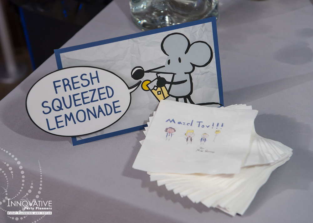 Maxs Cartoons | Drink Station Sign| Bar Mitzvah cartoon theme decor by Innovative Party Planners at Baltimore Hebrew