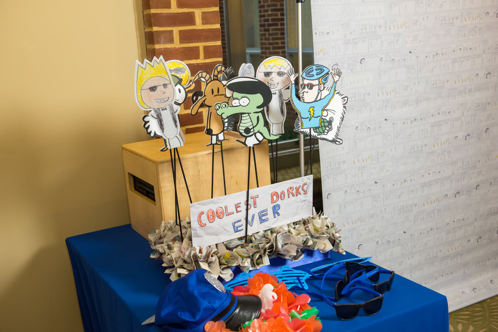 Maxs Cartoons | Photo Props | Bar Mitzvah cartoon theme decor by Innovative Party Planners at Baltimore Hebrew