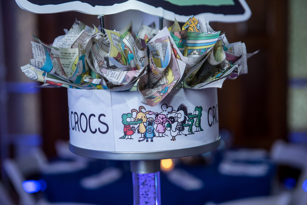 Maxs Cartoons | Adult Centerpieces| Bar Mitzvah cartoon theme decor by Innovative Party Planners at Baltimore Hebrew