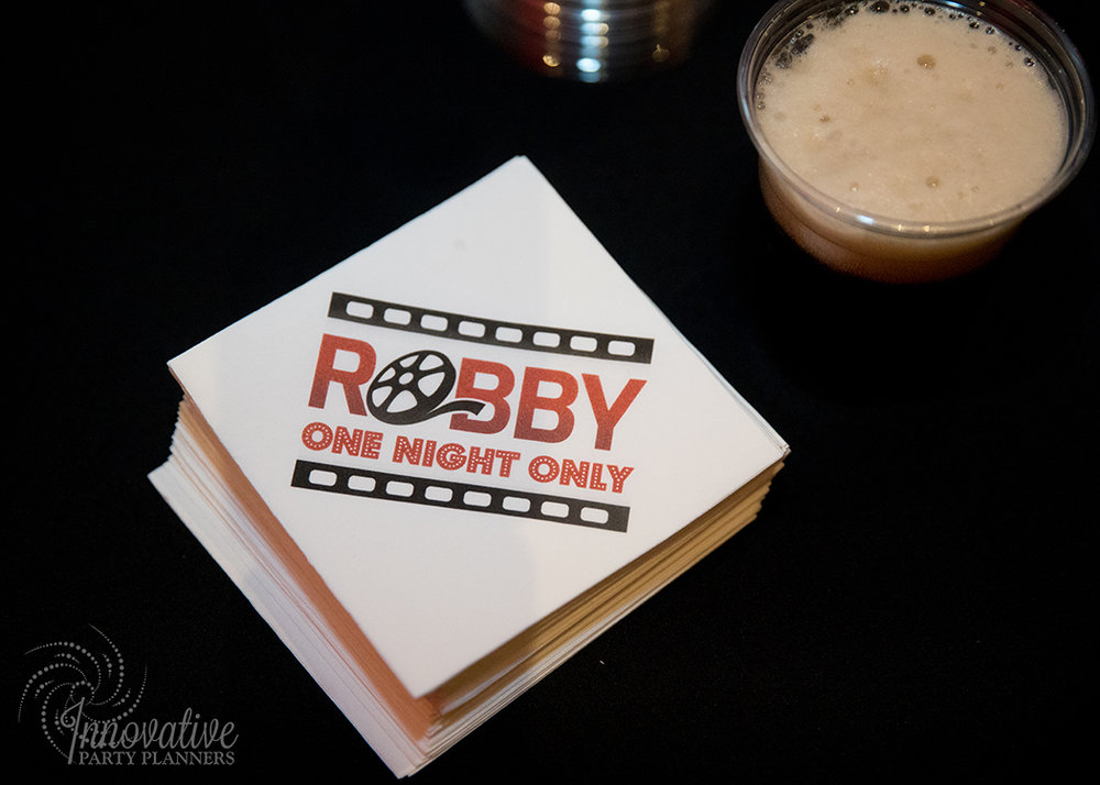 Robby One Night Only | Cocktail Napkins | Bar Mitzvah movie theme decor by Innovative Party Planners at Ten Oaks Ballroom