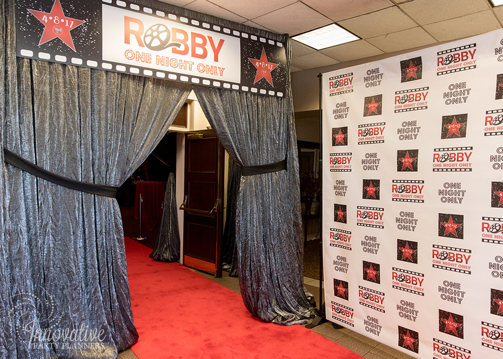 Robby One Night Only | Grand Entrance | Bar Mitzvah movie theme decor by Innovative Party Planners at Ten Oaks Ballroom