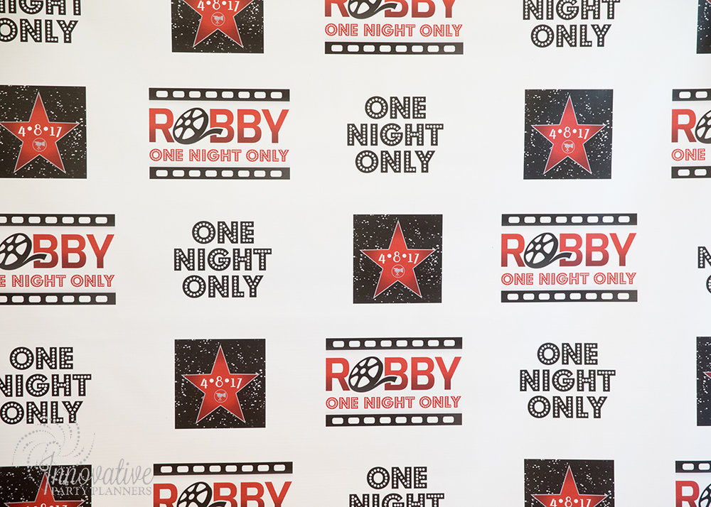 Robby One Night Only | Backdrop | Bar Mitzvah movie theme decor by Innovative Party Planners at Ten Oaks Ballroom