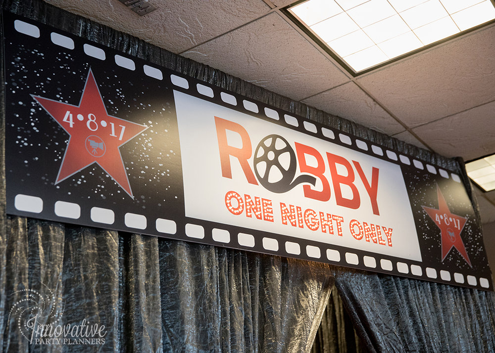 Robby One Night Only | Welcome Sign | Bar Mitzvah movie theme decor by Innovative Party Planners at Ten Oaks Ballroom