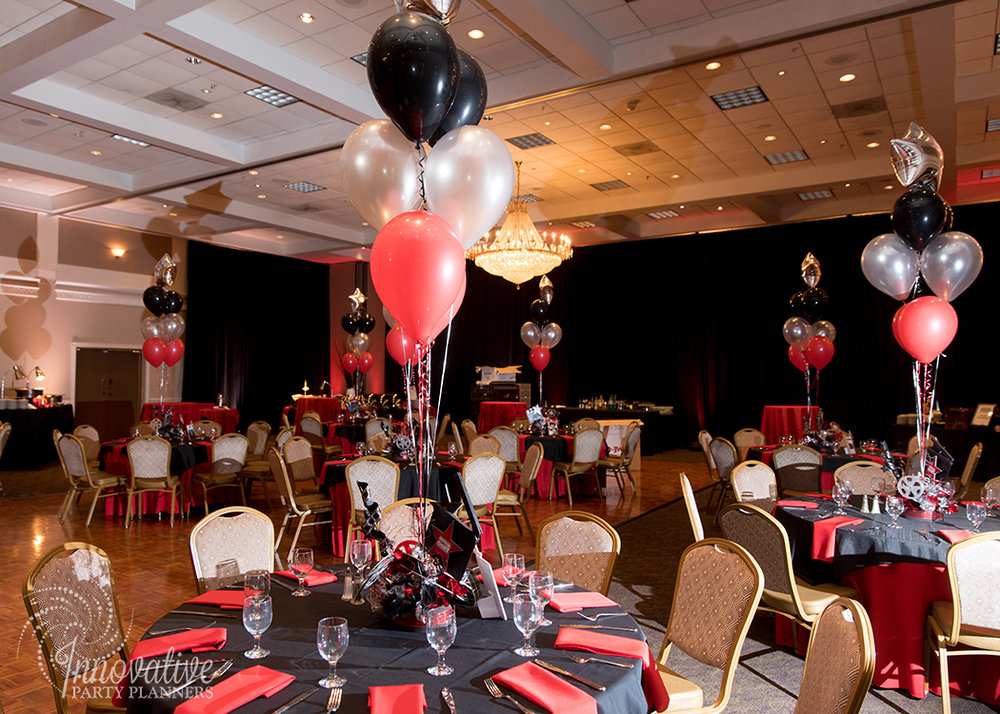 Robby One Night Only | Adult Tables | Bar Mitzvah movie theme decor by Innovative Party Planners at Ten Oaks Ballroom