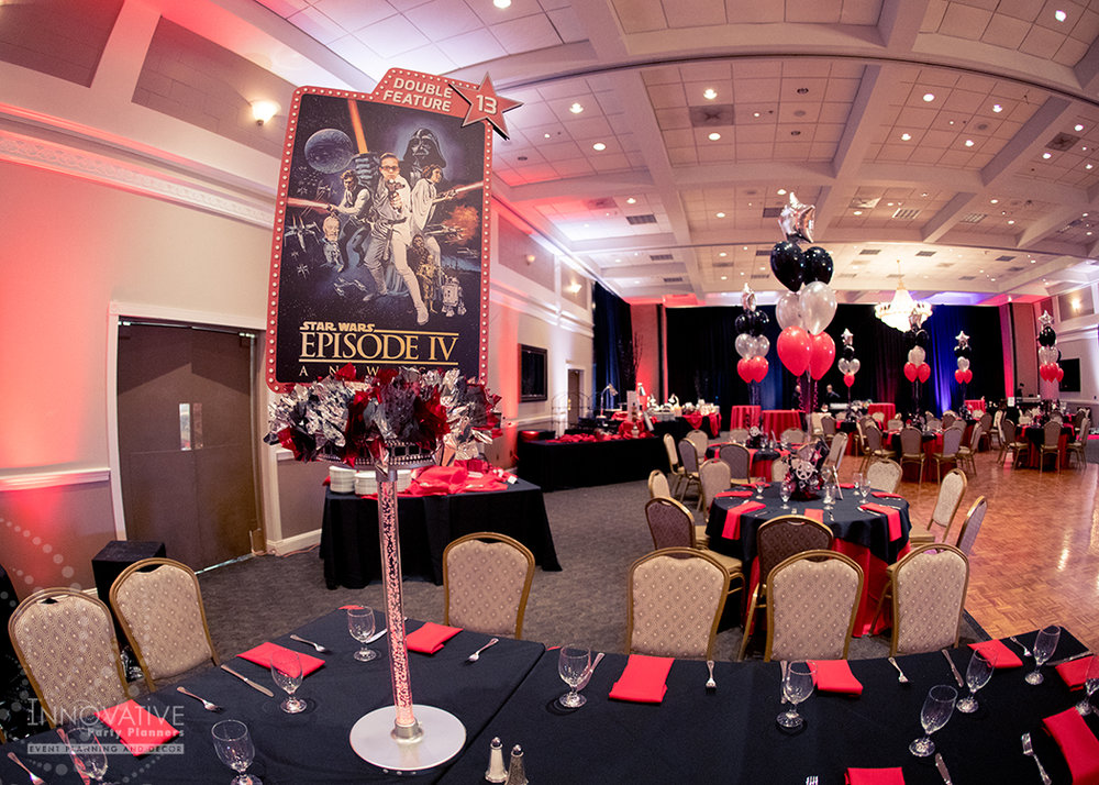 Robby One Night Only | Teen Tables | Bar Mitzvah movie theme decor by Innovative Party Planners at Ten Oaks Ballroom