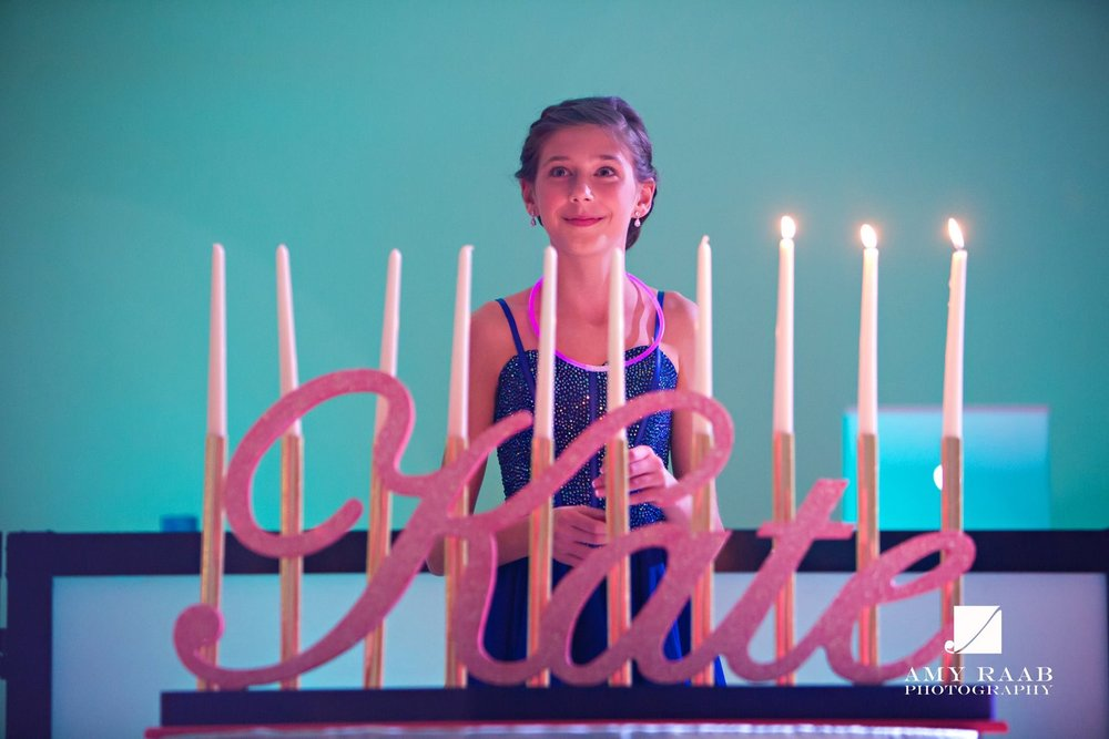 Kates Sweet Shoppe | Candle Lighting | Bat Mitzvah candy theme decor by Innovative Party Planners at Temple Beth Ami