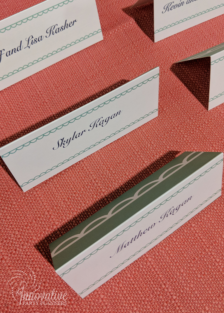 Kates Sweet Shoppe | Place Cards | Bat Mitzvah candy theme decor by Innovative Party Planners at Temple Beth Ami