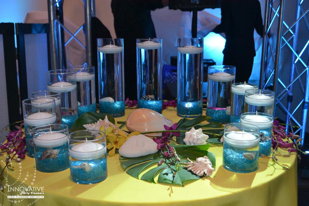 Talias Hawaiian Adventure | Candle Lighting Ceremony| Bat Mitzvah beach tropical island theme decor by Innovative Party Planners