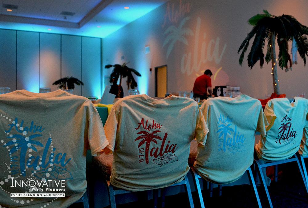 Talias Hawaiian Adventure | T-Shirt Party Favors| Bat Mitzvah beach tropical island theme decor by Innovative Party Planners