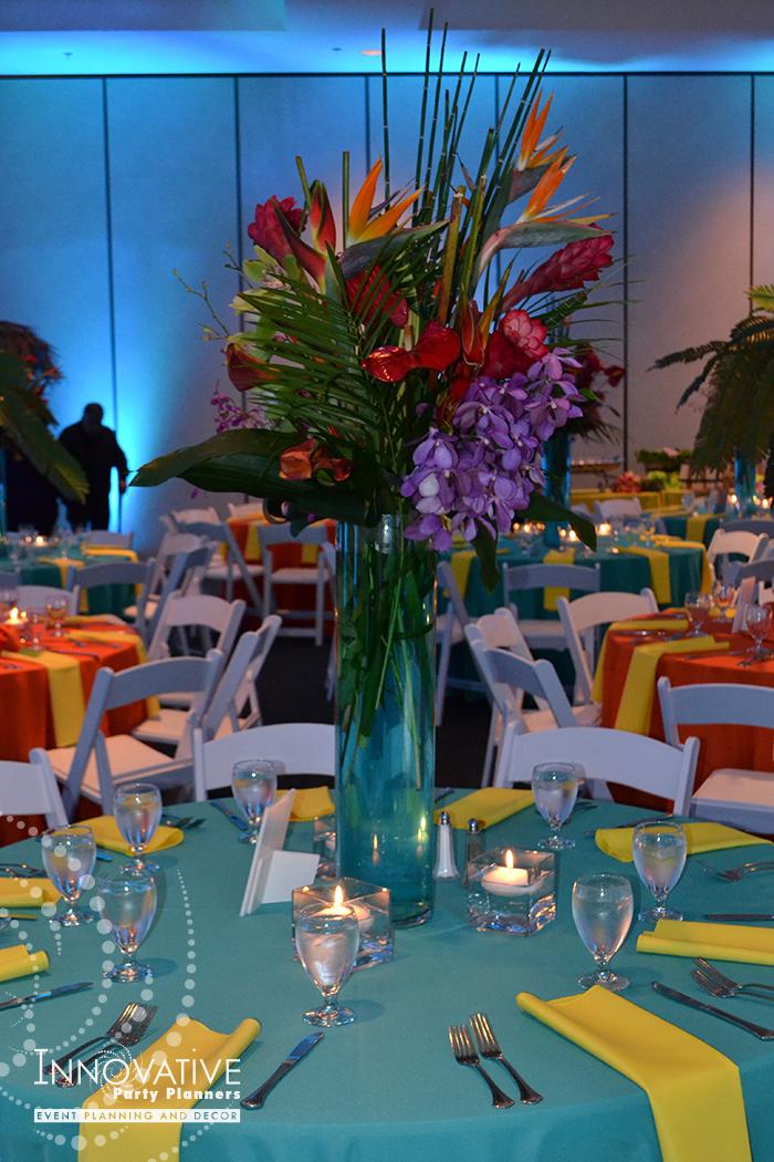 Talias Hawaiian Adventure | Adult Table Centerpieces | Bat Mitzvah beach tropical island theme decor by Innovative Party Planners