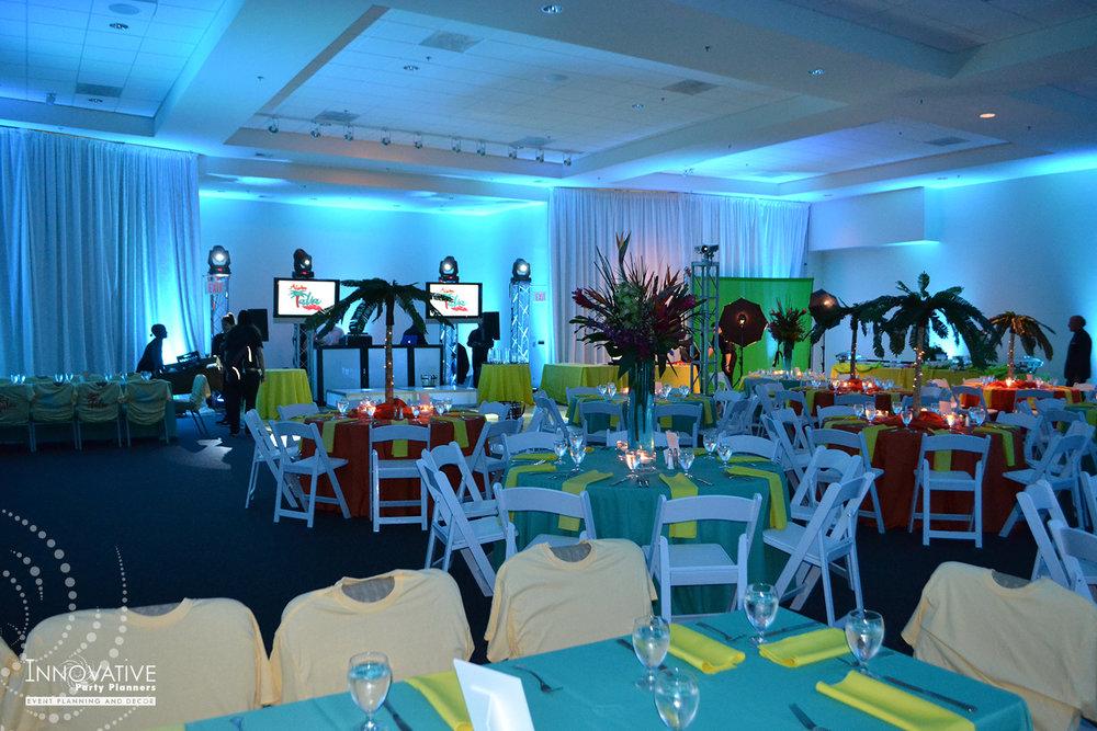 Talias Hawaiian Adventure | Adult Tables | Bat Mitzvah beach tropical island theme decor by Innovative Party Planners
