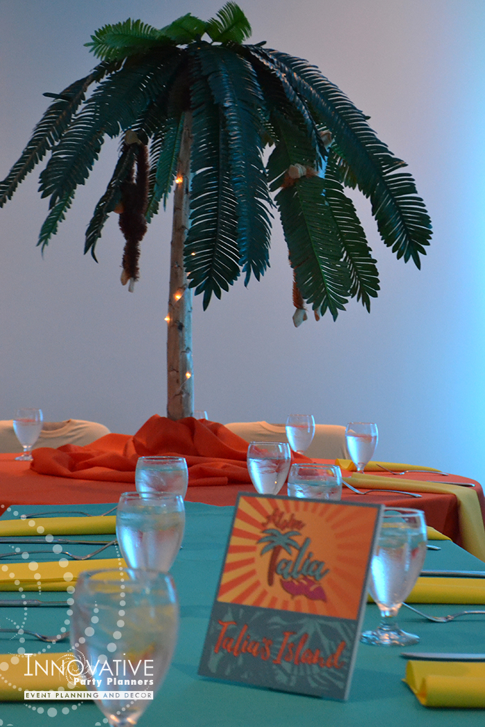 Talias Hawaiian Adventure | Teen Table Centerpieces | Bat Mitzvah beach tropical island theme decor by Innovative Party Planners