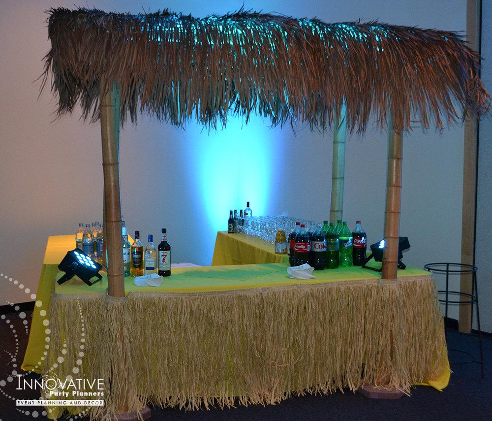 Talias Hawaiian Adventure | Tiki Hut Bar| Bat Mitzvah beach tropical island theme decor by Innovative Party Planners