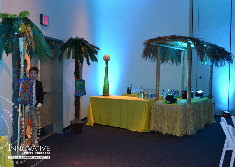 Talias Hawaiian Adventure | Entrance | Bat Mitzvah beach tropical island theme decor by Innovative Party Planners