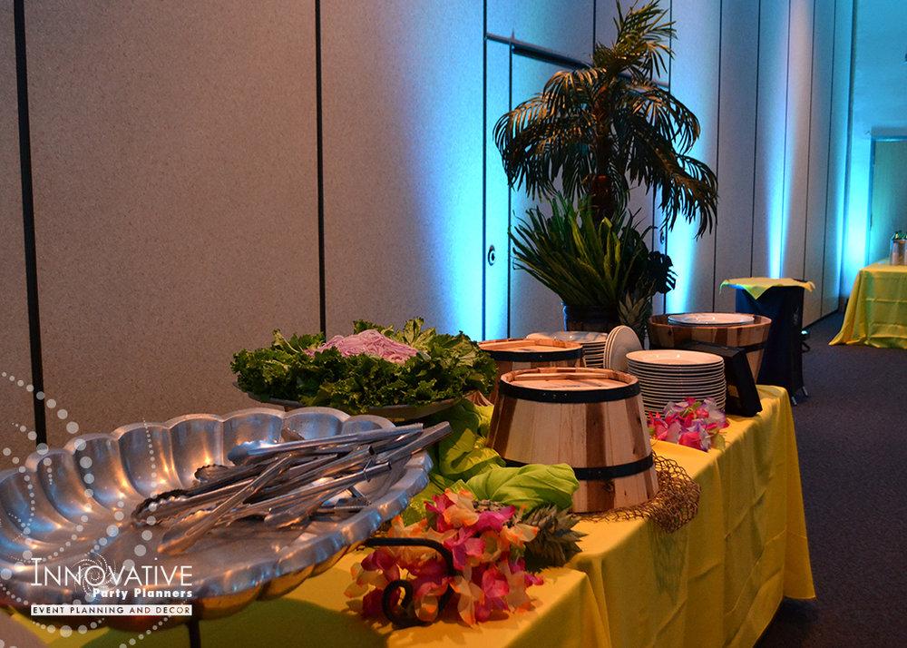 Talias Hawaiian Adventure | Buffet Table | Bat Mitzvah beach tropical island theme decor by Innovative Party Planners