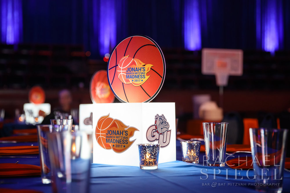 March Madness basketball theme featuring LED glow centerpieces - Bar Mitzvah Celebration