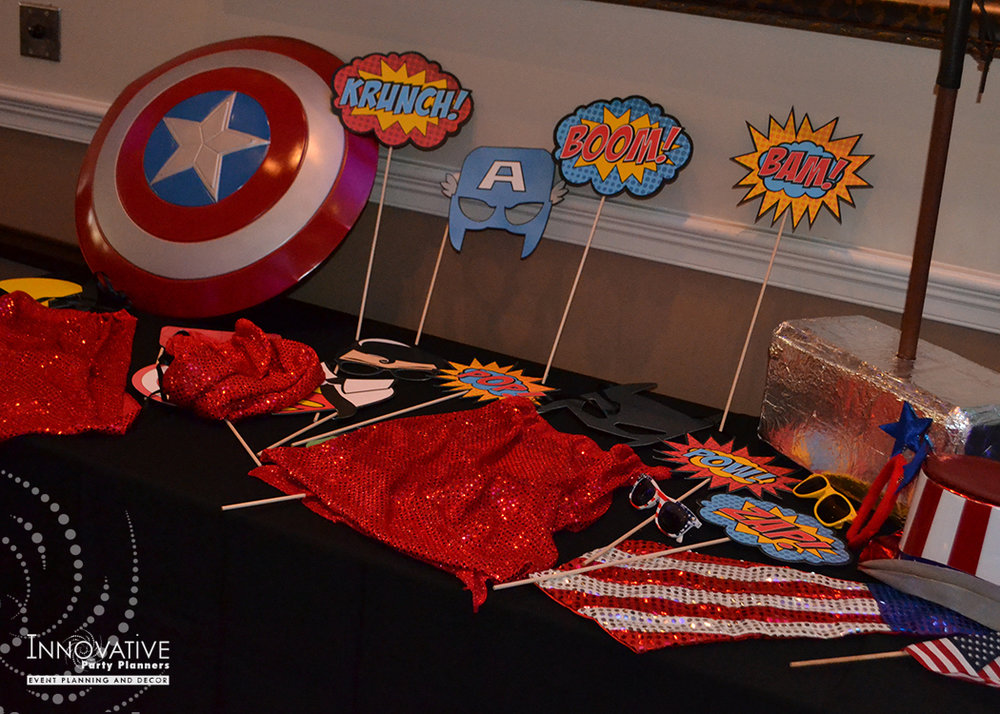 Elis Superheros | Photo Booth Props| Bar Mitzvah superhero theme, comic book theme, Superman, Batman, X-men, Marvel,decor by Innovative Party Planners at Ten Oaks