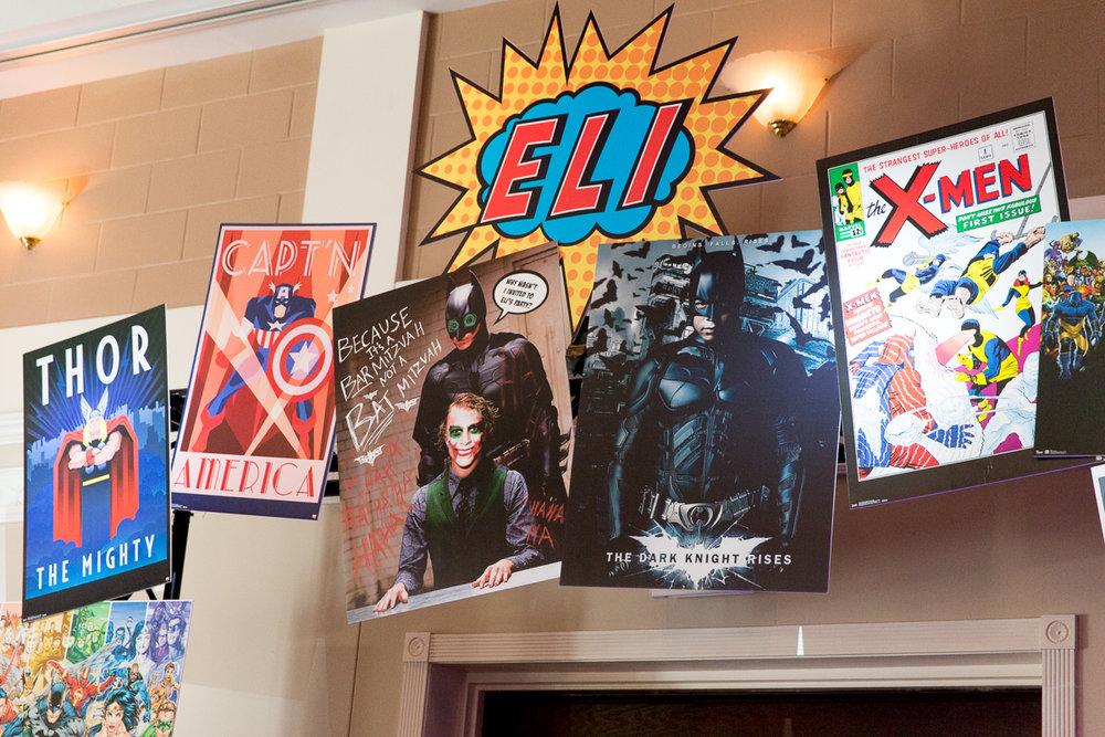 Elis Superheros | Archway | Bar Mitzvah superhero theme, comic book theme, Superman, Batman, X-men, Marvel,decor by Innovative Party Planners at Ten Oaks