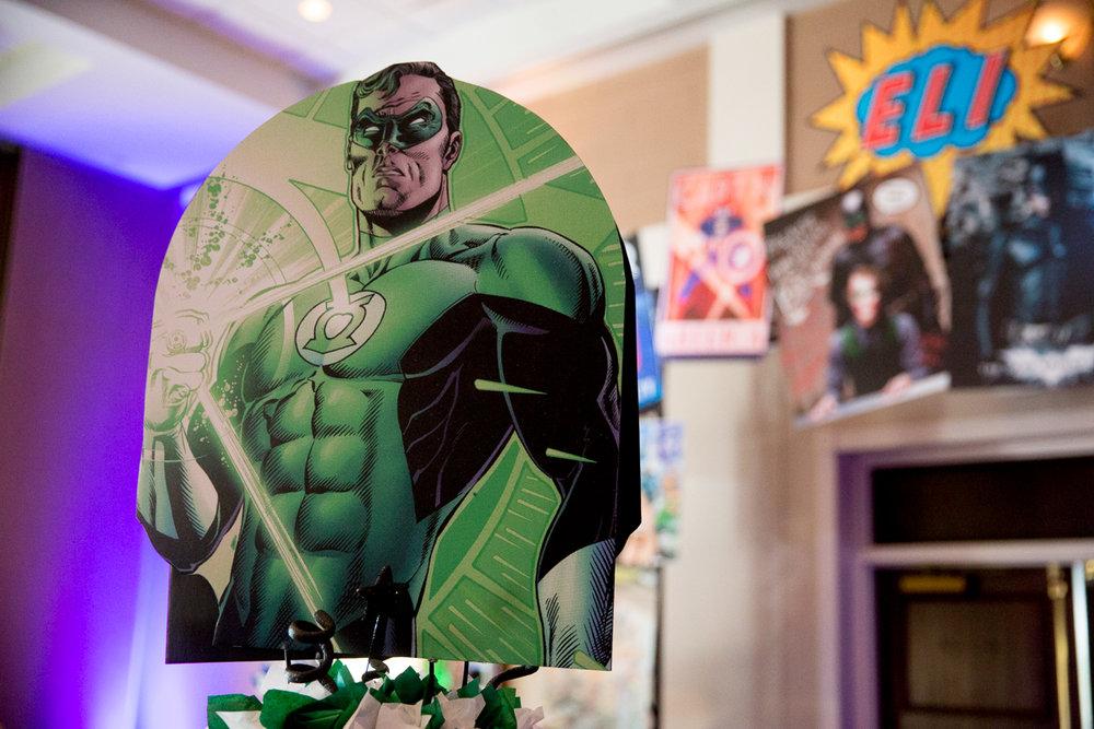 Elis Superheros | Green Lantern Centerpiece| Bar Mitzvah superhero theme, comic book theme, Superman, Batman, X-men, Marvel,decor by Innovative Party Planners at Ten Oaks