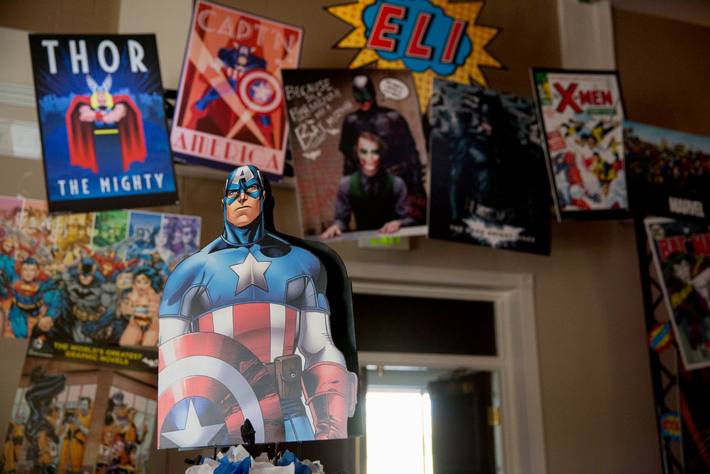 Elis Superheros | Captain America and Archway | Bar Mitzvah superhero theme, comic book theme, Superman, Batman, X-men, Marvel,decor by Innovative Party Planners at Ten Oaks