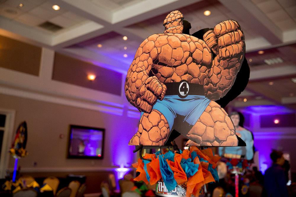 Elis Superheros | Fantastic 4 Thing Centerpiece| Bar Mitzvah superhero theme, comic book theme, Superman, Batman, X-men, Marvel,decor by Innovative Party Planners at Ten Oaks