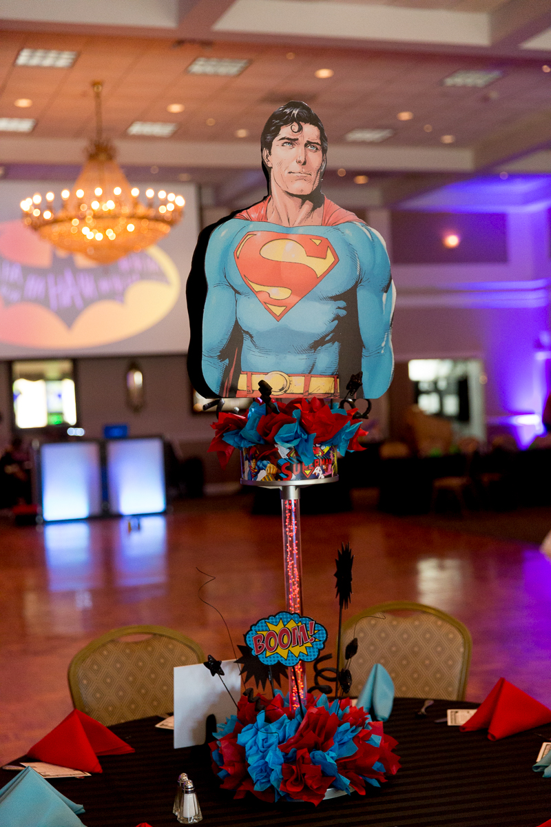 Elis Superheros | Superman Centerpiece| Bar Mitzvah superhero theme, comic book theme, Superman, Batman, X-men, Marvel,decor by Innovative Party Planners at Ten Oaks